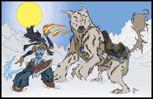 Korra and Naga by CjB-Productions