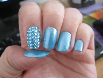 blue gem nail art by VIXEN270991