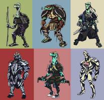Adult Mutant Samurai Turtles by splendidriver
