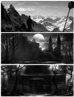 b-w environment paintings by Lyno3ghe
