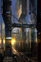 Scifi cityscape by Lyno3ghe
