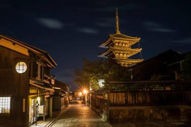 Pagoda at night by LunaFeles
