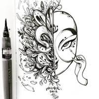 INKtober day 18   Maskara by SillyJellie
