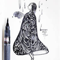 INKtober day21 | Feathers drenched in the rain by SillyJellie