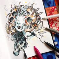 INKtober day31  Mask. by SillyJellie