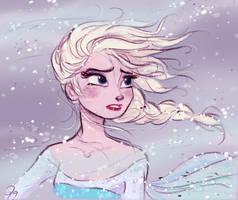 Disney's Frozen Elsa in the blizzard by princekido