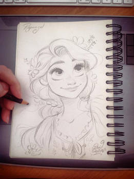 Quick Disney's Rapunzel sketch by princekido