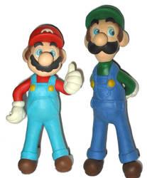 Clay Mario and Clay Luigi by FlintofMother3
