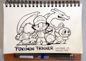 INKTOBER 01 Pokemon Trainer by FlintofMother3