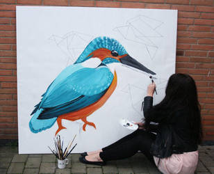 Kingfisher painting by Ronacat
