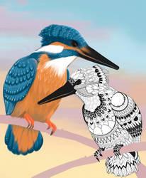 Mandala kingfisher by Ronacat