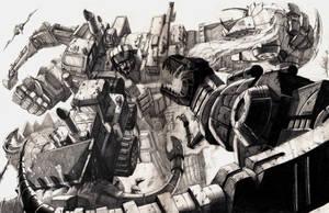 Devastator vs Dinobots by LivioRamondelli