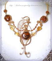 Golden Butterfly with Agates by blackcurrantjewelry