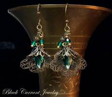 Green Crystal Earrings by blackcurrantjewelry