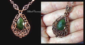 Jade and Copper pendant by blackcurrantjewelry