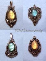 Four Labradorite Pendants by blackcurrantjewelry