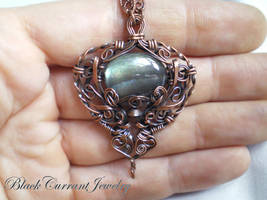 Deep Waters - Labradorite and Copper Pendant by blackcurrantjewelry