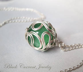 Green Amazonite and Sterling Silver Ball by blackcurrantjewelry