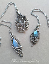 Rutilated Quartz and Two Small Labradorites by blackcurrantjewelry