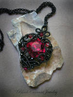 Magenta Crystal and Black Wire by blackcurrantjewelry