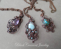 Amethyst, amazonite and chrysoprase with copper. by blackcurrantjewelry