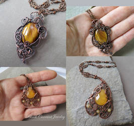 Tiger eye and yellow calcite pendants with copper by blackcurrantjewelry