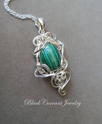 Green malacite with sterling silver by blackcurrantjewelry