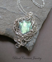 Rectangular Labradorite with Sterling Silver by blackcurrantjewelry