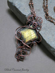 Rectangular Yellow Labradorite with Copper by blackcurrantjewelry