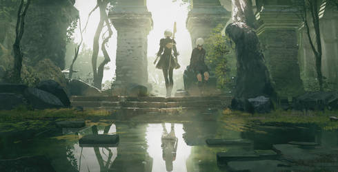 NieR Automata Become As Gods Edition Artwork by marblegallery7