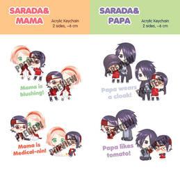 SARADA -MAMA and SARADA-PAPA Acrylic Keychain by SmartChocoBear