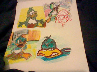 I drew Plucky duck to practice by Mightydein