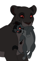 Shadow Lions~Closed~Mother and cub lion adoptables by Wolfmylove04