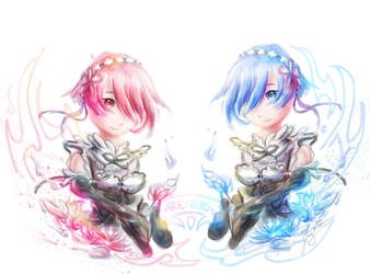 Rem and Ram (Re:Zero) by jas7229