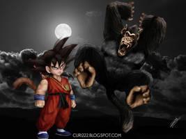 Oozaru and Goku Untooned Papie by curi222