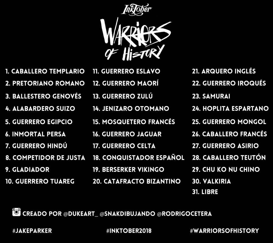 Inktober Warrior List by argentinor