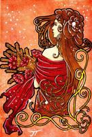 Les champs de l'or et rouge by Itzea