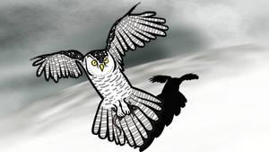 Snow owl with snack by Jasper-M