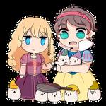 Rapunseilyssa And Snow White With Doggos by AthilahThePun