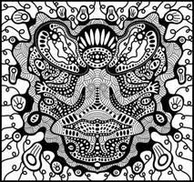 alien monkey meditating by Shurka