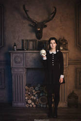 Addams Family. Wednesday and skull by NellieSchwarz