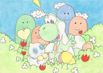 Old - Yoshi and Chao collab by LogicDefect