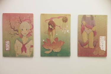 Manga Girl Triptyche by HeartFullOfWine