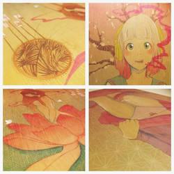 Manga Girl Triptyche - Close Ups by HeartFullOfWine