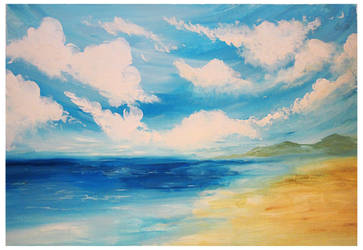 Clouds over the sea.Finger painting by Alena-48