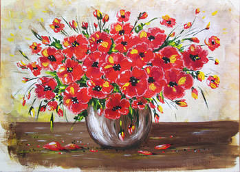 Poppies in a vase by Alena-48