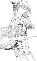 Kratos vs. Zeus by asura06