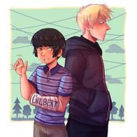 (APH x DEH) Dear Honda Kiku - Gilbert and Kiku by TomatoAndLettuce