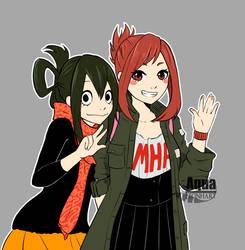 [Boku no Hero Academia] Tsuyu and Uraraka by AquaLeonhart
