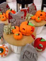 Bloody Pumpkin Cupcakes by Sliceofcake